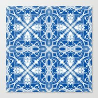 Dotted Tile: Vibrant Blu… Canvas Print