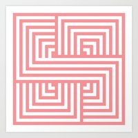 Coral Nautical Stripes Art Print