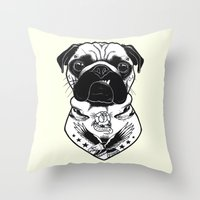 Dog - Tattooed Pug Throw Pillow