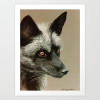 Silver Fox Painting Art Print