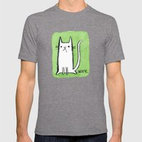 Nope Kitty Mens Fitted Tee Tri-Grey SMALL