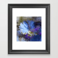 Blue Abstract Flower And… Framed Art Print