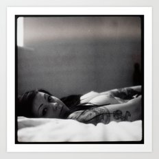 Girl on bed Art Print