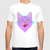 Candy Cat Mens Fitted Tee White SMALL