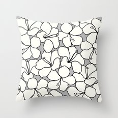 Hibiscus Animal Gray / Grey Throw Pillow