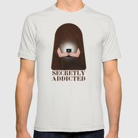 Secretly Addicted Mens Fitted Tee Silver SMALL
