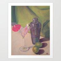 Martini, Shaker & Limes Art Print
