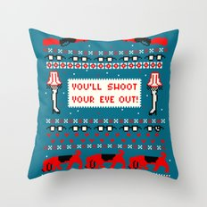 A Christmas Sweater (Blue) Throw Pillow
