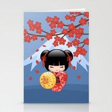 Japanese Red Sakura Kokeshi Doll on Blue Stationery Cards