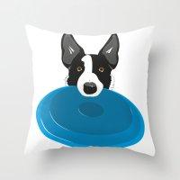 Border Collie - Disc Dog… Throw Pillow