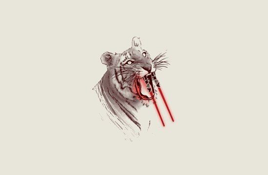 Light Saber Tooth Tiger Art Print