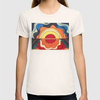 Ocean Sunset Womens Fitted Tee Natural SMALL