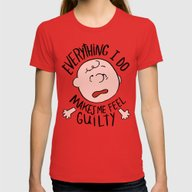 CHARLIE BROWN Womens Fitted Tee Red SMALL