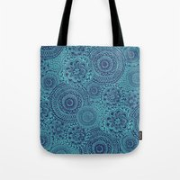 Tossed Blue mandalas Tote Bag