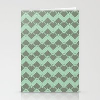 Mint Geometric Art Deco Chevron Pattern Stationery Cards