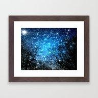 Black Trees Blue SPACE Framed Art Print