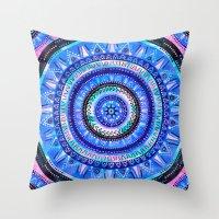 Mandala 2 {blue} Throw Pillow