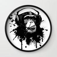 Monkey Business - White Wall Clock
