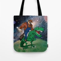 Raccoon Dino Rider.... Tote Bag