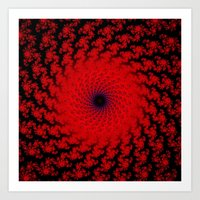 Red Space Spiral Fractal… Art Print