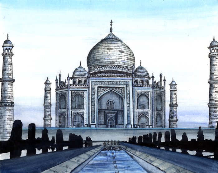 """Taj Mahal Travel Fine Art Watercolor Painting """"Taj Mahal ..."""