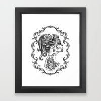Sugar Skull Girl Cameo Framed Art Print