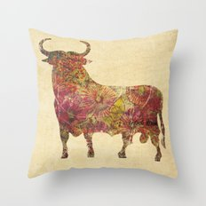 The vintage bull Throw Pillow