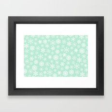 minty snow flakes Framed Art Print