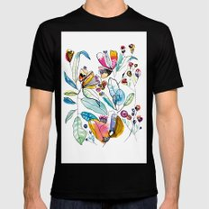 Flowers in the Wind Black SMALL Mens Fitted Tee