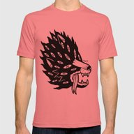Demon Wolf Mens Fitted Tee Pomegranate SMALL