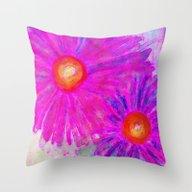 Bright Pink Sketch Flowe… Throw Pillow