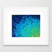 TRUE REFLECTION - Ocean Water Waves Ripple Light Impressionist Bright Colors Ombre Painting Framed Art Print