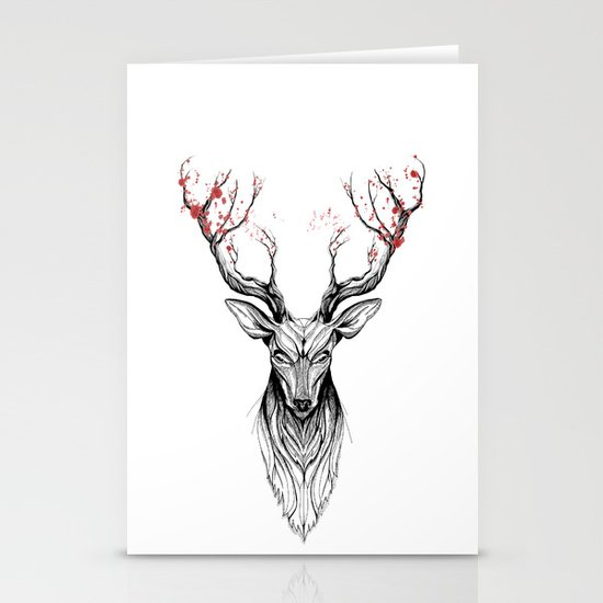 Deer tree (black stroke version for t-shirts) Stationery Card