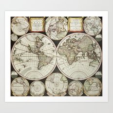 Vintage map of the World 1696 Art Print