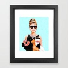Breakfast at Dunkin Donuts - Audrey Hepburn Framed Art Print