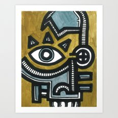 Blue and Gold Face Art Print