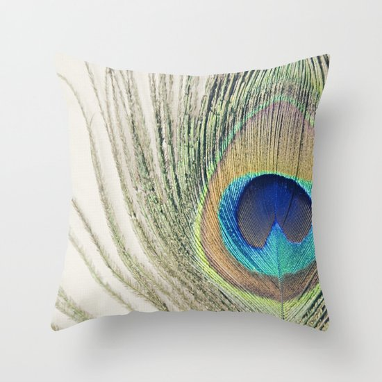 Peacock Feather No.2 Throw Pillow
