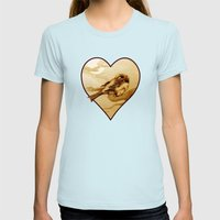 Sparrow by Moonlight Womens Fitted Tee Light Blue SMALL