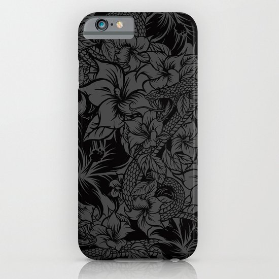 Snaky Fleur, Black and Grey iPhone & iPod Case