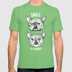 Smile It's Friday Frenchie Mens Fitted Tee Grass SMALL