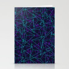 Abstract Geometric 3D Triangle Pattern in  turquoise/ purple  Stationery Cards