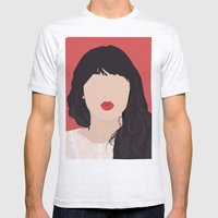 Zooey Deschanel Portrait Mens Fitted Tee Ash Grey SMALL