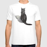 Black Cat Shadow Mens Fitted Tee White SMALL