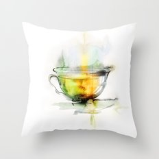 Green tea Throw Pillow