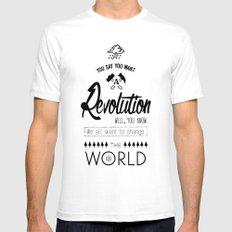 Lennon's Revolution SMALL White Mens Fitted Tee