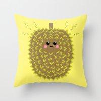 Happy Pixel Durian Throw Pillow