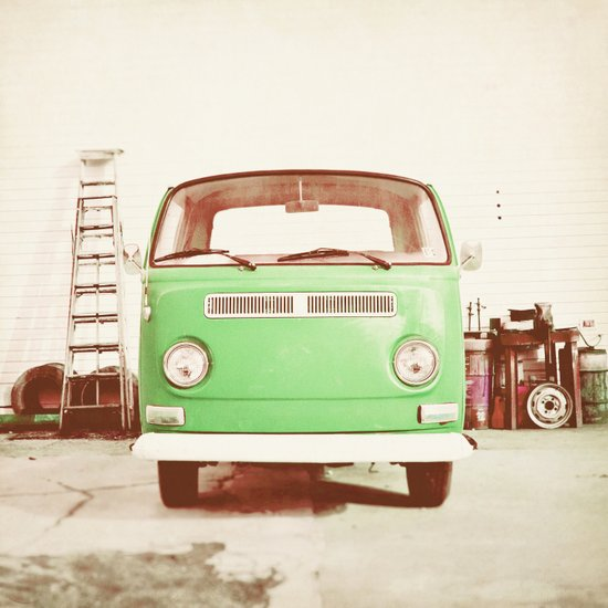 Vintage Volkswagen Bus (Green Edition) Art Print