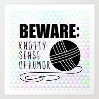 funny crochet knit humor knitting yarn skein ball  Art Print