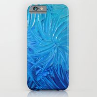 iPhone & iPod Case featuring WATER FLOWERS 2 - Stunning Ocean Beach Waves Floral Abstract Acrylic Painting Turquoise Blue Navy by EbiEmporium