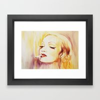 Marlene Dietrich with a cigarette Framed Art Print
